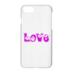 Pink Love Hearts Typography Apple Iphone 7 Hardshell Case