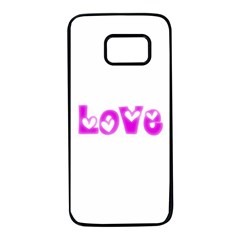 Pink Love Hearts Typography Samsung Galaxy S7 Black Seamless Case