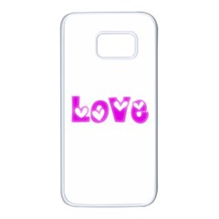 Pink Love Hearts Typography Samsung Galaxy S7 White Seamless Case