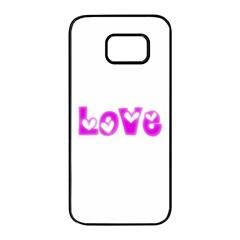 Pink Love Hearts Typography Samsung Galaxy S7 edge Black Seamless Case