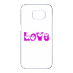 Pink Love Hearts Typography Samsung Galaxy S7 edge White Seamless Case