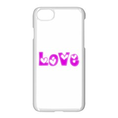Pink Love Hearts Typography Apple Iphone 7 Seamless Case (white)