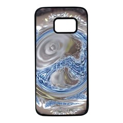 Silver Gray Blue Geometric Art Circle Samsung Galaxy S7 Black Seamless Case