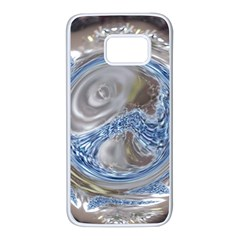 Silver Gray Blue Geometric Art Circle Samsung Galaxy S7 White Seamless Case