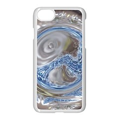Silver Gray Blue Geometric Art Circle Apple Iphone 7 Seamless Case (white)