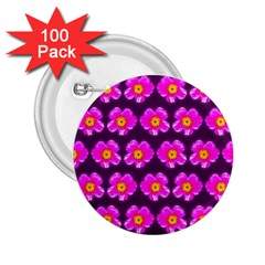 Pink Flower Pattern On Wine Red 2.25  Buttons (100 pack)