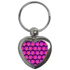 Pink Flower Pattern On Wine Red Key Chains (Heart)