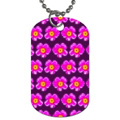Pink Flower Pattern On Wine Red Dog Tag (Two Sides)