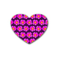 Pink Flower Pattern On Wine Red Heart Coaster (4 pack)