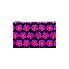 Pink Flower Pattern On Wine Red Cosmetic Bag (small)