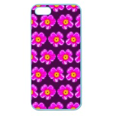 Pink Flower Pattern On Wine Red Apple Seamless iPhone 5 Case (Color)
