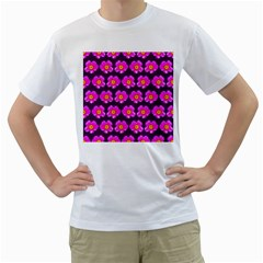 Pink Flower Pattern On Wine Red Men s T-Shirt (White)