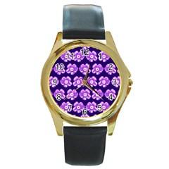 Purple Flower Pattern On Blue Round Gold Metal Watch