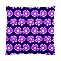 Purple Flower Pattern On Blue Standard Cushion Case (Two Sides)