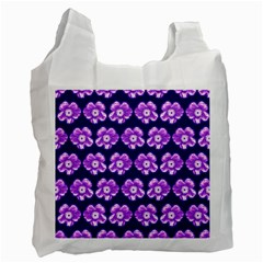 Purple Flower Pattern On Blue Recycle Bag (Two Side)
