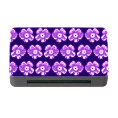 Purple Flower Pattern On Blue Memory Card Reader with CF