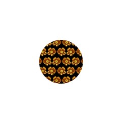 Yellow Brown Flower Pattern On Brown 1  Mini Magnets