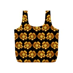 Yellow Brown Flower Pattern On Brown Full Print Recycle Bags (s)