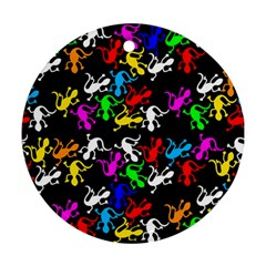 Colorful lizards pattern Ornament (Round)