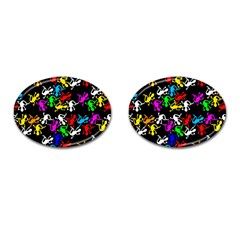 Colorful lizards pattern Cufflinks (Oval)