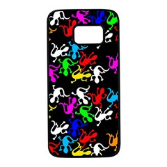 Colorful lizards pattern Samsung Galaxy S7 Black Seamless Case