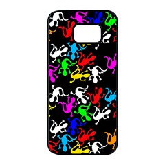 Colorful lizards pattern Samsung Galaxy S7 edge Black Seamless Case