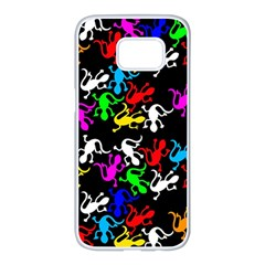 Colorful lizards pattern Samsung Galaxy S7 edge White Seamless Case
