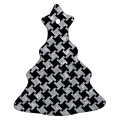 Houndstooth2 Black Marble & Gray Marble Ornament (christmas Tree)