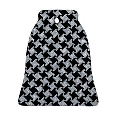 Houndstooth2 Black Marble & Gray Marble Ornament (bell)