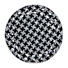 Houndstooth2 Black Marble & Gray Marble Round Filigree Ornament (two Sides)