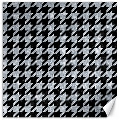 Houndstooth1 Black Marble & Gray Marble Canvas 16  X 16