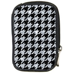 Houndstooth1 Black Marble & Gray Marble Compact Camera Leather Case