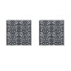 Damask2 Black Marble & Gray Marble (r) Cufflinks (square)