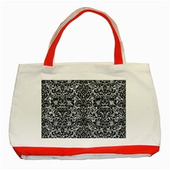Damask2 Black Marble & Gray Marble (r) Classic Tote Bag (red)