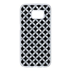 Circles3 Black Marble & Gray Marble Samsung Galaxy S7 Edge White Seamless Case