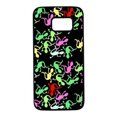 Playful lizards pattern Samsung Galaxy S7 Black Seamless Case