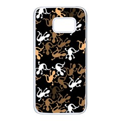 Brown lizards pattern Samsung Galaxy S7 White Seamless Case