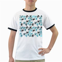 Lizards pattern - blue Ringer T-Shirts