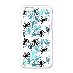 Lizards Pattern   Blue Apple Iphone 6/6s White Enamel Case