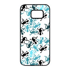 Lizards pattern - blue Samsung Galaxy S7 edge Black Seamless Case