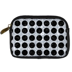 Circles1 Black Marble & Gray Marble (r) Digital Camera Leather Case
