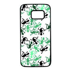 Lizards pattern - green Samsung Galaxy S7 Black Seamless Case