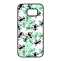 Lizards pattern - green Samsung Galaxy S7 edge Black Seamless Case