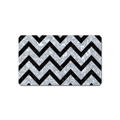 Chevron9 Black Marble & Gray Marble (r) Magnet (name Card)