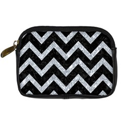 Chevron9 Black Marble & Gray Marble Digital Camera Leather Case