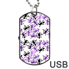 Lizards Pattern   Purple Dog Tag Usb Flash (two Sides)