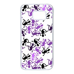 Lizards pattern - purple Samsung Galaxy S7 White Seamless Case