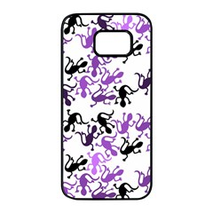 Lizards Pattern   Purple Samsung Galaxy S7 Edge Black Seamless Case