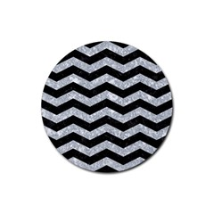 Chevron3 Black Marble & Gray Marble Rubber Round Coaster (4 Pack)