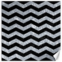 Chevron3 Black Marble & Gray Marble Canvas 16  X 16